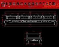 松鹤迎年电视柜红木家具生产CAD图 dwg