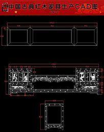 竹节电视柜红木家具生产CAD图 dwg