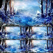 梦幻舞台LED背景森林雪精灵视频背景