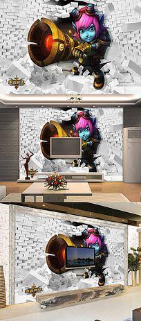 阿童木3D立体儿童房壁纸壁画背景墙