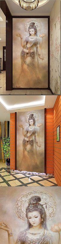 佛教菩萨油画古典玄关装饰画