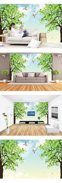 简约绿树电视背景墙装饰画