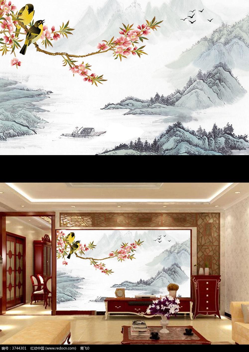 厅电视墙 大厅壁画 壁画 墙纸 酒店壁画-15款 竹报平安电视客厅背景墙