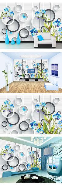 清新蓝花3D电视背景墙装饰画