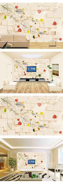 透明叶子现代简约电视背景墙装饰画