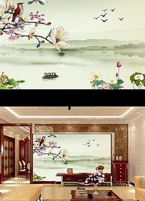 中式玉兰花山水风景画电视背景墙