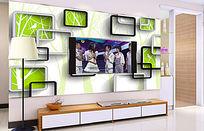 3D立体壁画绿色树林方框电视