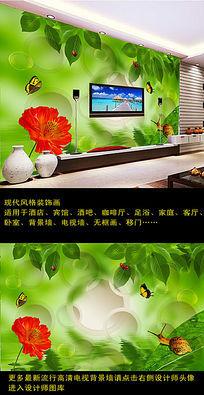 3D清新绿叶电视背景墙装饰画