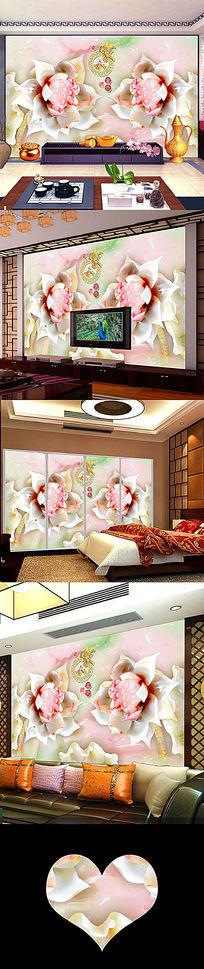 浮雕花开富贵立体壁画电视背景墙图片