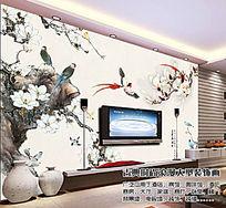 富贵花开电视背景墙壁画