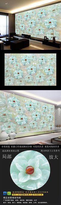 高清翡翠花玉雕背景墙
