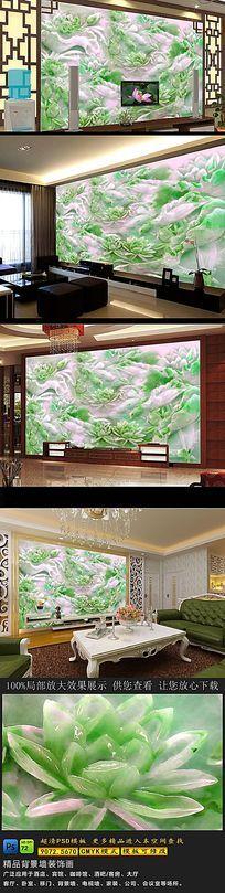 高清翡翠绿色玉雕电视背景墙