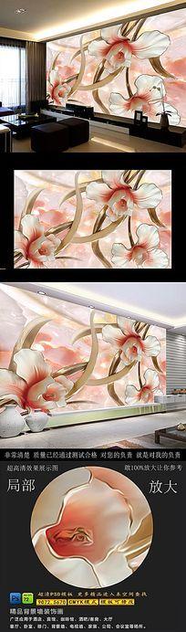 花开富贵3D浮雕电视背景墙