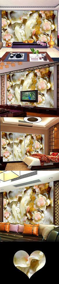 花开富贵玉雕立体壁画电视背景墙