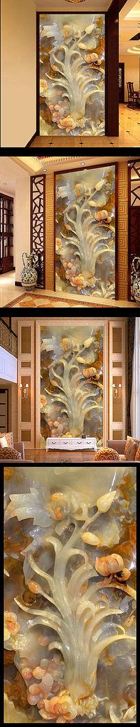 精品3D玉雕玄关门厅背景墙 3D玄关壁画