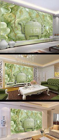 聚宝盆中式传统花纹富贵吉祥玉雕背景墙