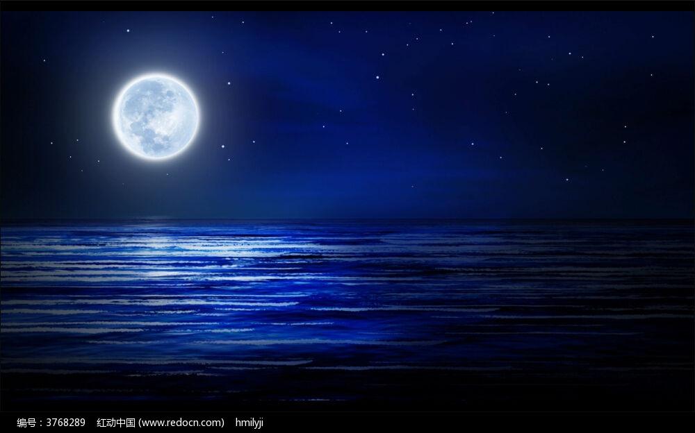 视频_蓝色海面月亮视频素材