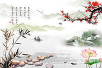 中式竹子梅花背景墙 PSD