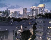 城市夜景远眺风景插画PSD分层素材 PSD