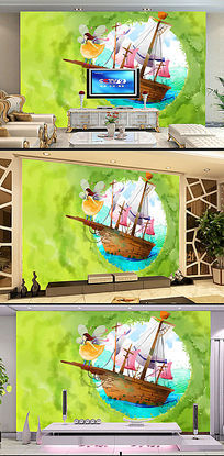 3D立体童话世界油画电视客厅背景墙