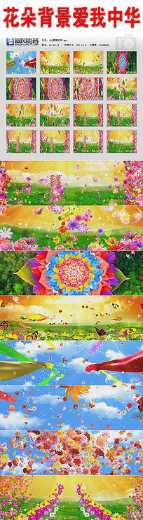 花朵背景爱我中华视频素材
