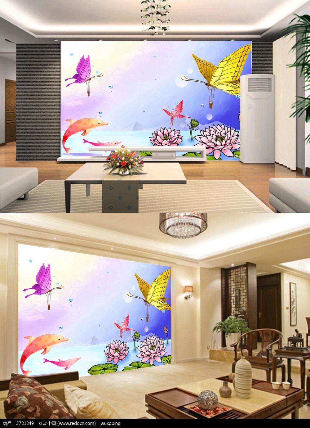 莲花 油画 油布 水彩画 中国风 温馨 浪漫温馨 婚房 大堂 大厅 客厅 酒