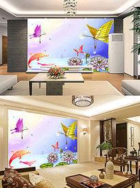 梦幻童话色彩蝶恋花油画电视客厅背景墙