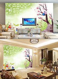 梦幻童话色彩田园色彩油画电视客厅背景墙