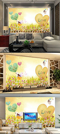 梦幻童话色彩油画电视客厅背景墙