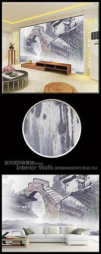 中式水墨江南油画电视背景墙