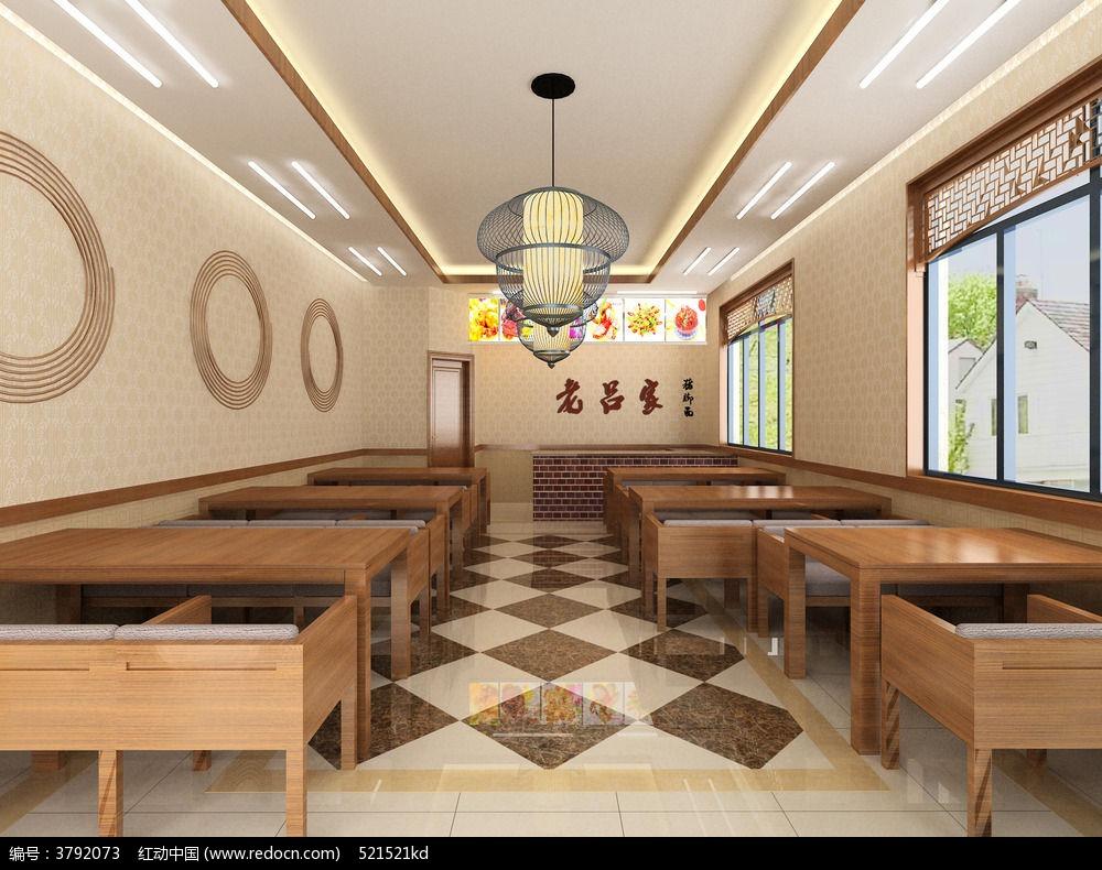 面馆餐馆3d模型3dmax素材下载_室内装修设计图片