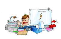 手绘办公室忙了工作漫画 PSD