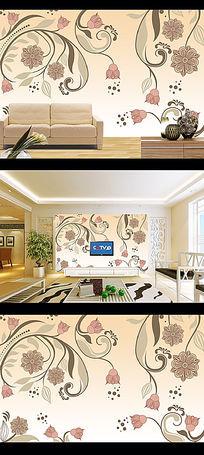 素雅花纹电视背景墙壁画