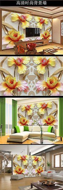 3D立体浮雕百合花电视背景墙壁画