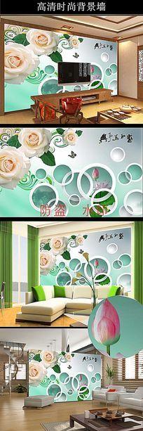 3D玫瑰花纹家和万事兴电视背景墙图片