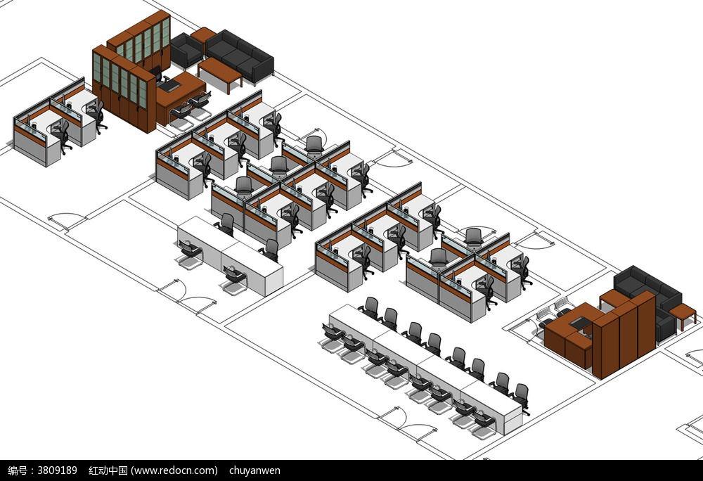 办公家具草图整体透视效图skp模型图片