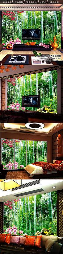 高清竹林风景时尚电视背景墙装饰画