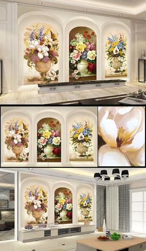 拱门立体3D油画花卉电视背景墙装饰画