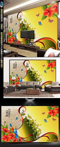 红色蝴蝶兰花都电视背景墙