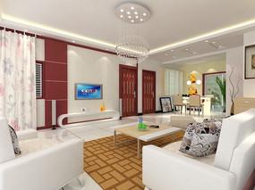 家装简约现代客厅3d模型