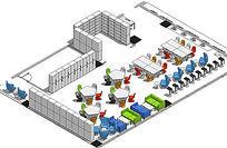 图书室家具草图整体透视效图SKP模型