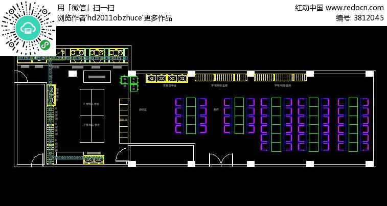 CAD餐厅和工程平面图厨房中望cad安装模型图片