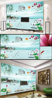 唐韵江南山水风景画背景墙装饰画