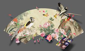 国画飞鸟3d立体画