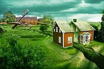 剪地面乡村房屋3d地贴画