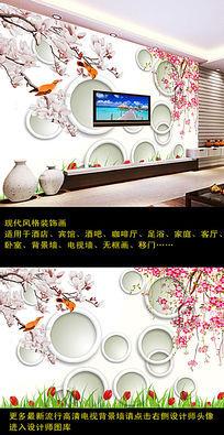 3D立体圆环花鸟图电视背景墙装饰画