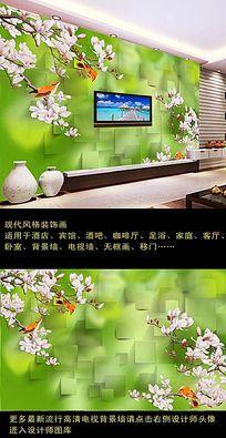 3D清新绿色花鸟画电视背景墙装饰画