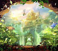 童话城堡3d3d立体画