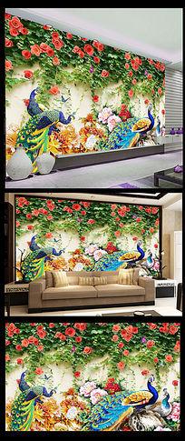 3D牡丹孔雀玫瑰花墙背景墙