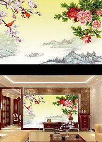 中国风牡丹中式电视背景墙装饰画